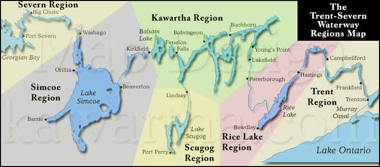 The six regions of The Trent-Severn Waterway