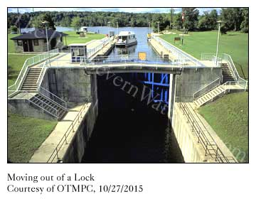 Moving into a standard lock on The Trent-Severn Waterway